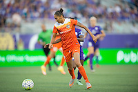 Orlando, Florida - Saturday, April 23, 2016: Houston Dash defender Poliana Barbosa (2) turns with the ball during an NWSL match between Orlando Pride and Houston Dash at the Orlando Citrus Bowl.