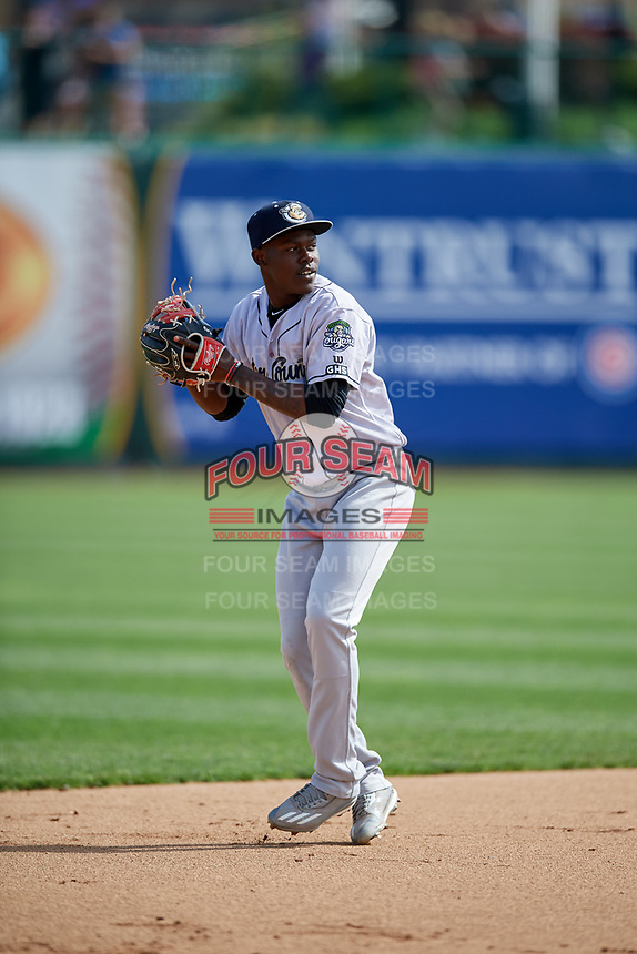 Kane County Cougars shortstop Jasrado Chisholm (3) during a game against the South Bend Cubs on May 3, 2017 at Four Winds Field in South Bend, Indiana.  South Bend defeated Kane County 6-2.  (Mike Janes/Four Seam Images)