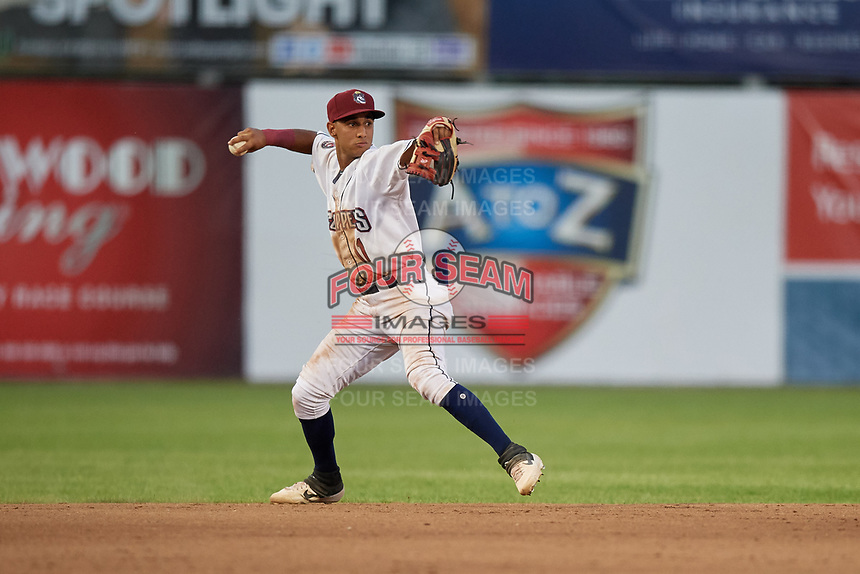Mahoning Valley Scrappers Brayan Rocchio (11) throws to first base during a NY-Penn League game against the Hudson Valley Renegades on July 15, 2019 at Eastwood Field in Niles, Ohio.  Mahoning Valley defeated Hudson Valley 6-5.  (Mike Janes/Four Seam Images)