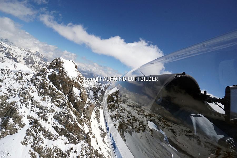 Umrundung des Viso mit dem Segelflugzeug: EUROPA, FRANKREICH, ITALIEN (EUROPE, GERMANY), 17.05.2016: Umrundung des Viso mit dem Segelflugzeug