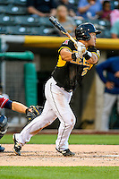 Ji-Man Choi (25) of the Salt Lake Bees at bat against the Tacoma Rainiers in Pacific Coast League action at Smith's Ballpark on June 14, 2016 in Salt Lake City, Utah. The Bees defeated the Rainiers 9-4. (Stephen Smith/Four Seam Images)