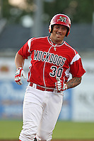 Batavia Muckdogs first baseman David Bergin #30 runs the bases after hitting a home run during an exhibition game against the Newark Pilots of the Perfect Game Collegiate Baseball Lague at Dwyer Stadium on June 15, 2012 in Batavia, New York.  Batavia defeated Newark 8-0.  (Mike Janes/Four Seam Images)