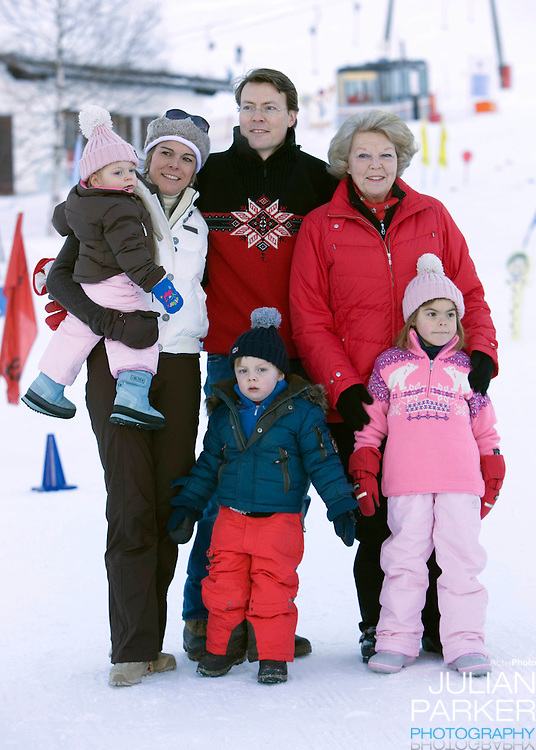 Queen Beatrix of Holland, with Prince Constantijn, and Princess Laurentien and Family attend a Photocall with members of The Dutch Royal Family during their Winter Ski Holiday in Lech Austria