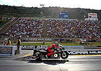 Jul. 19, 2013; Morrison, CO, USA: NHRA pro stock motorcycle rider Matt Smith during qualifying for the Mile High Nationals at Bandimere Speedway. Mandatory Credit: Mark J. Rebilas-