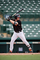 GCL Orioles Harris Yett (17) at bat during a Gulf Coast League game against the GCL Braves on August 5, 2019 at Ed Smith Stadium in Sarasota, Florida.  GCL Orioles defeated the GCL Braves 4-3 in the second game of a doubleheader.  (Mike Janes/Four Seam Images)