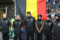 20200226 Kalmthout, BELGIUM : (From left to right) Belgian delegee Bram Demeur, assistant coach Lus Bosmans, goal keeper coach Frederic Verwimp, team doctor Annelies Harnie, team physio Kristien Marissens before  the international friendly soccer match between the national youth Women Under 17 teams of Belgium and the Netherlands, a friendly game in preparation for the UEFA Elite rounds in March in Belgium for the Belgian team, Wednesday 26th of February 2020 at Sportpark Heikant in Kalmthout, BELGIUM. PHOTO: SPORTPIX.BE | Sevil Oktem