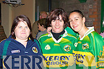 Blathnaid Whelan Killorglin, Hannah Sheahan Castlegregory, Krystle Delaney Glenbeigh enjoying the Kerry captain homecoming in Glenbeigh on Tuesday night