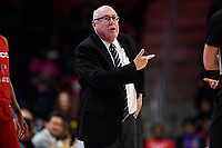 Washington, DC - June 14, 2019: Washington Mystics head coach Mike Thibault is not happy following a foul call during game between Seattle Storm and Washington Mystics at the St. Elizabeths East Entertainment and Sports Arena in Washington, DC. The Storm hold on to defeat the Mystics 74-71. (Photo by Phil Peters/Media Images International)