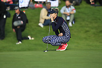 Nelly Korda (USA) on the 18th green during Day 3 Singles at the Solheim Cup 2019, Gleneagles Golf CLub, Auchterarder, Perthshire, Scotland. 15/09/2019.<br /> Picture Thos Caffrey / Golffile.ie<br /> <br /> All photo usage must carry mandatory copyright credit (© Golffile | Thos Caffrey)