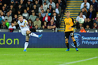 Barrie McKay of Swansea City has a shot during the Carabao Cup Second Round match between Swansea City and Cambridge United at the Liberty Stadium in Swansea, Wales, UK. Wednesday 28, August 2019.