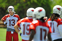 Jun 9, 2008; Tempe, AZ, USA; Arizona Cardinals quarterback (13) Kurt Warner looks on during mini camp at the Cardinals practice facility. Mandatory Credit: Mark J. Rebilas-