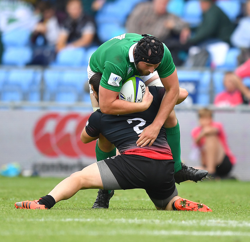 Ireland's Evan Mintern is tackled by Georgia's Lasha Sajaia<br /> <br /> Photographer Dave Howarth/CameraSport<br /> <br /> International Rugby Union - U20 World Rugby Championships 2016 - Pool B - Match 17 - Pool A Ireland U20 v Georgia U20 - Wednesday 15th June 2016 - Manchester City Academy Stadium - Manchester<br /> <br /> World Copyright &copy; 2016 CameraSport. All rights reserved. 43 Linden Ave. Countesthorpe. Leicester. England. LE8 5PG - Tel: +44 (0) 116 277 4147 - admin@camerasport.com - www.camerasport.com<br /> <br /> Photographer Stephen White/CameraSport<br /> <br /> International Rugby Union - U20 World Rugby Championships 2016 - Pool C France U20 v Argentina U20 - Match 1 - Tuesday 07th June 2016 - AJ Bell Stadium - Salford - England<br /> <br /> World Copyright &copy; 2016 CameraSport. All rights reserved. 43 Linden Ave. Countesthorpe. Leicester. England. LE8 5PG - Tel: +44 (0) 116 277 4147 - admin@camerasport.com - www.camerasport.com