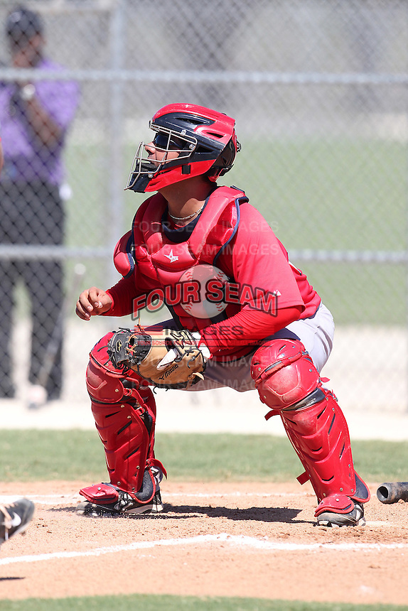 Boston Red Sox catcher Adelberto Ibarra #25 during an intrasquad Instructional League game at Red Sox Minor League Training Complex in Fort Myers, Florida;  October 4, 2011.  (Mike Janes/Four Seam Images)