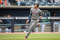 Lehigh Valley IronPigs shortstop JP Crawford (3) sprints home against the Toledo Mud Hens during the International League baseball game on April 30, 2017 at Fifth Third Field in Toledo, Ohio. Toledo defeated Lehigh Valley 6-4. (Andrew Woolley/Four Seam Images)