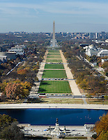 The Mall and the Washington Monument can be seen looking west from the top of the recently restored US Capitol dome, November 15, 2016 in Washington, DC. <br /> Credit: Olivier Douliery / Pool via CNP /MediaPunch