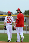 VIERA, FL-  FEBRUARY 26:  Jayson Werth and his son exit the field after a day of practice during the Washington Nationals Spring Training at Space Coast Stadium in Viera, FL (Photo by Donald Miralle) *** Local Caption ***