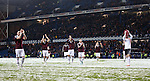 Hearts players after referee Bobby Madden calls off the match during the first half