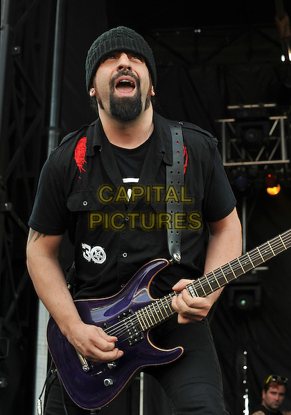 """Guitarist ROB CAGGIANO of the thrash metal band ANTHRAX performs at Day 2 of the  'Rock On The Range Festival"""" held at Crew Stadium, Columbus, OH., USA..May 20th, 2012      .on stage in concert live gig performance performing music half length black shirt beanie hat goatee facial hair guitar.CAP/ADM/JN.©Jason L Nelson/AdMedia/Capital Pictures."""
