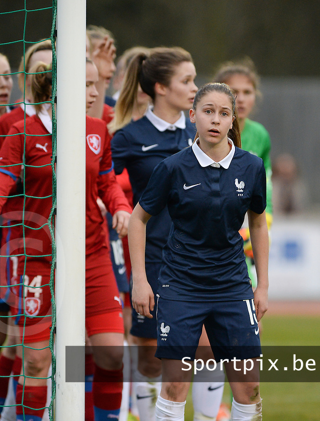 20160319 - FLERS , FRANCE : French Laura Rueda  pictured during the soccer match between the women under 17 teams of  France and the Czech Republic , on the first matchday in group 3 of the UEFA Women Under17 Elite rounds at Stade du Haze in Flers , France . Saturday 19th March 2016 . PHOTO DAVID CATRY