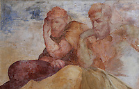 Fresco of two men thinking, painted c. 1552 by Niccolo dell'Abatte after drawings by Primaticcio, in the window recesses of the Ballroom or Galerie Henri II, Chateau de Fontainebleau, France. The Palace of Fontainebleau is one of the largest French royal palaces and was begun in the early 16th century for Francois I. It was listed as a UNESCO World Heritage Site in 1981. Picture by Manuel Cohen