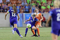 Houston, TX - Saturday Sept. 03, 2016: Maddy Evans, Cami Privett during a regular season National Women's Soccer League (NWSL) match between the Houston Dash and the Orlando Pride at BBVA Compass Stadium.