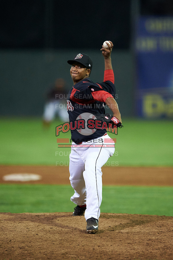 Batavia Muckdogs pitcher Ayron Adames (36) delivers a pitch during a game against the Auburn Doubledays July 10, 2015 at Dwyer Stadium in Batavia, New York.  Auburn defeated Batavia 13-1.  (Mike Janes/Four Seam Images)