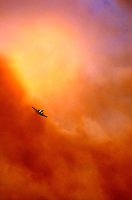 870000030 a fire fighting aircraft emerges from a monstrous smoke cloud above the simi hills north of chatsworth in northern los angeles county during a major wildfire that burned over 250,000 acres in california