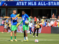 San Jose, CA - Thursday July 28, 2016: David Bingham, Andre Blake during a Major League Soccer All-Star Game match between MLS All-Stars and Arsenal FC at Avaya Stadium.