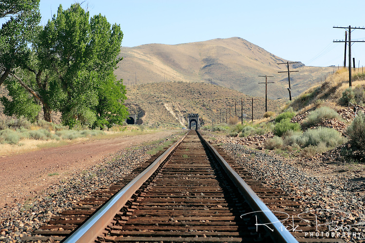 Railroad tracks running through Palisade Canyon. Palisade Canyon in Central Nevada was first surveyed by the Central Pacific Railroad as part of the construction of the Transcontinental Railroad. With the Humboldt River flowing through it the area became an ideal location for a railroad town and departure point for the nearby mining areas of Mineral Hill, Eureka, and Hamilton. The Central Pacific, later the Southern Pacific, and the Western Pacific both operated mineral transfer points with the narrow-gage Eureka and Palisade Railroad. Today the Union Pacific uses tracks on the north side for westbound traffic and the south side tracks for eastbound. The area has also been considered as a possible transfer point for the shipment of nuclear waster to Yucca Mountain, Nevada. Photographed 07/07