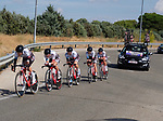 Doltcini-Van Eyck Sport team in action during Stage 1 of the Madrid Challenge by La Vuelta, a team time trial running 12.6km from Boadilla del Monte to Boadilla del Monte, Spain. 15th September 2018.                   <br /> Picture: Unipublic/Vicent Bosch | Cyclefile<br /> <br /> <br /> All photos usage must carry mandatory copyright credit (&copy; Cyclefile | Unipublic/Vicent Bosch)