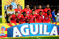 CALI - COLOMBIA, 10- 03-2019: Los jugadores de América de Cali, posan para una foto, antes de partido entre América de Cali y Once Caldas, de la fecha 9 por la Liga Águila I 2019 jugado en el estadio Pascual Guerrero de la ciudad de Cali. / The players of America de Cali, pose for a photo, priora match between America de Cali and Once Caldas, of the 9th date for the Aguila Leguaje I 2019 at the Pascual Guerrero stadium in Cali city. Photo: VizzorImage / Nelson Ríos / Cont.