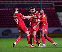 Swindon Town's Michael Doughty celebrates scoring his side's equalising goal to make the score 2-2 with team-mates<br /> <br /> Photographer Andrew Vaughan/CameraSport<br /> <br /> The EFL Sky Bet League Two - Swindon Town v Lincoln City - Saturday 12th January 2019 - County Ground - Swindon<br /> <br /> World Copyright &copy; 2019 CameraSport. All rights reserved. 43 Linden Ave. Countesthorpe. Leicester. England. LE8 5PG - Tel: +44 (0) 116 277 4147 - admin@camerasport.com - www.camerasport.com
