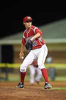 Batavia Muckdogs relief pitcher Dustin Beggs (47) during a game against the Brooklyn Cyclones on July 6, 2016 at Dwyer Stadium in Batavia, New York.  Batavia defeated Brooklyn 15-2.  (Mike Janes/Four Seam Images)