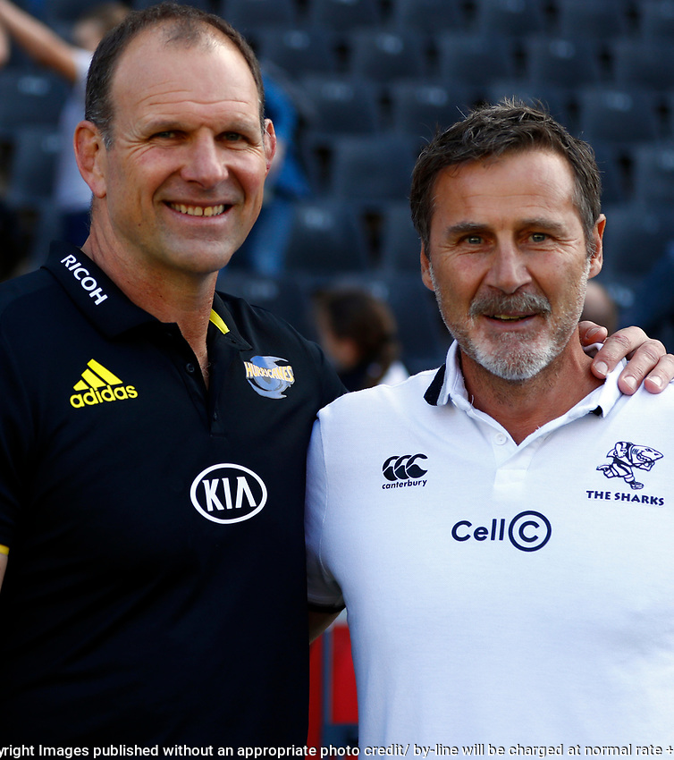 John Plumtree (Head Coach) of the Hurricanes with Robert du Preez (Head Coach) of the Cell C Sharks during the Super Rugby match between Cell C Sharks and Hurricanes at Jonsson Kings Park Stadium in Durban, South Africa on Saturday, 1 June 2019. Photo by Steve Haag / stevehaagsports.com