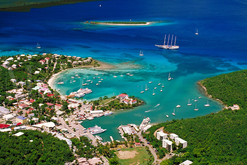 aerial of Cruz Bay, St. John. St John, US Virgin Islands Caribbean.