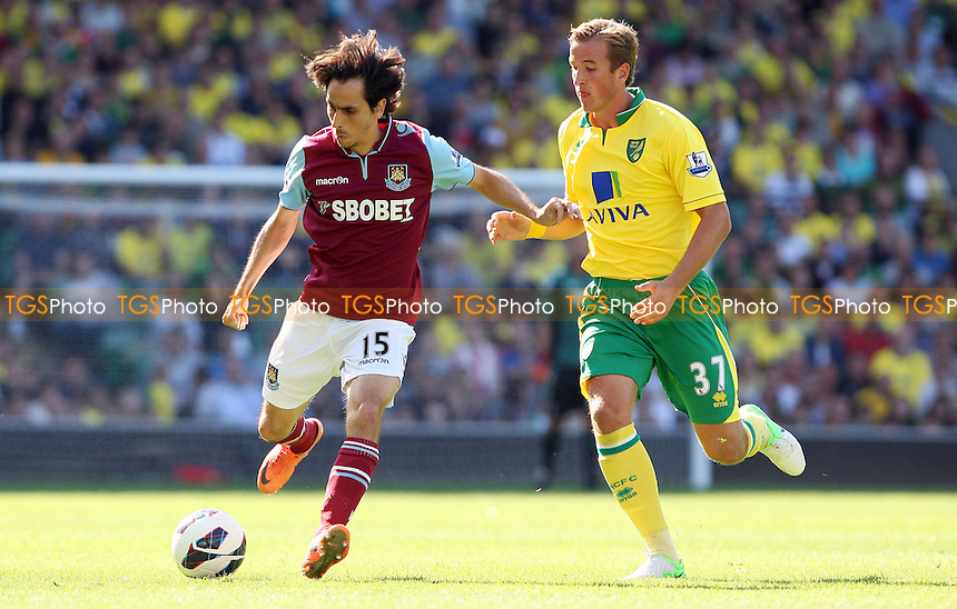 Yossi Benayoun of West Ham and Harry Kane of Norwich - Norwich City vs West Ham United, Barclays Premier League at Carrow Road, Norwich - 15/09/12 - MANDATORY CREDIT: Rob Newell/TGSPHOTO - Self billing applies where appropriate - 0845 094 6026 - contact@tgsphoto.co.uk - NO UNPAID USE.