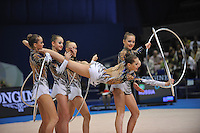 September 13, 2009; Mie, Japan;  Russian rhythmic group performs with 5-hoops to win gold in this group Event Final at the 2009 World Championships Mie, Japan. Photo by Tom Theobald.