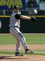 April 28, 2004:  Pitcher Matt Young of the Buffalo Bisons, International League (AAA) affiliate of the Cleveland Indians, during a game at Frontier Field in Rochester, NY.  Photo by:  Mike Janes/Four Seam Images