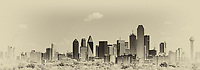 This is a photo of a Dallas skyline panorama with a vintage look which includes many of the iconic structures like the Margaret Hunt Hill bridge,  Bank of America, Fountain Place, to the Reunion Tower in a sepia finish.