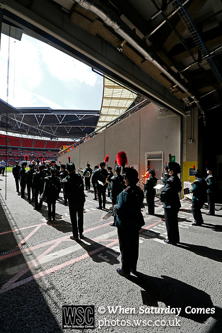 Tranmere Rovers 1 Forest Green Rovers 3, 14/05/2017. Wembley Stadium, Conference play off Final. The marching band wait to go on before the Vanarama Conference play off Final  between Tranmere Rovers v Forest Green Rovers at the Wembley. Photo by Paul Thompson.
