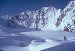 Alaska, Backcountry telemark skiing, Ruth Glacier, Don Sheldon Ampitheatre, Alaska Range, Alaska, U.S.A., North America, Wes Krause, model released,.