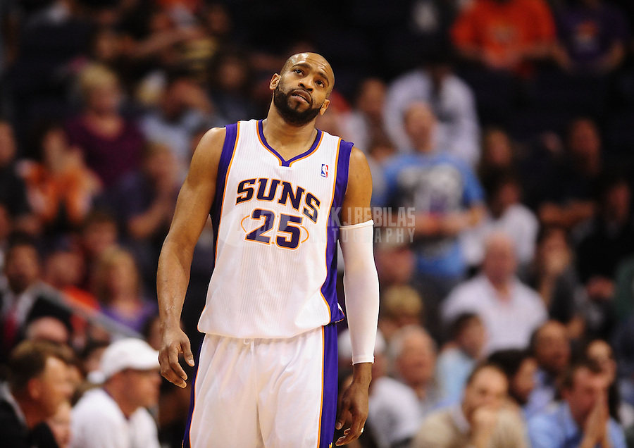 Jan. 26, 2011; Phoenix, AZ, USA; Phoenix Suns guard Vince Carter reacts in the fourth quarter against the Charlotte Bobcats at the US Airways Center. The Bobcats defeated the Suns 114-107. Mandatory Credit: Mark J. Rebilas-