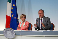 Il Ministro degli Esteri Emma Bonino ed il sottosegretario alla Presidenza del Consiglio Filippo Patroni Griffi, a destra, tengono una conferenza stampa al termine del Consiglio dei Ministri a Palazzo Chigi, Roma, 23 agosto 2013.<br /> Italian Foreign Minister Emma Bonino and cabinet undersecretary Filippo Patroni Griffi, right, attend a press conference at the end of a cabinet meeting at Chigi Palace, Rome, 23 August 2013.<br /> UPDATE IMAGES PRESS/Isabella Bonotto
