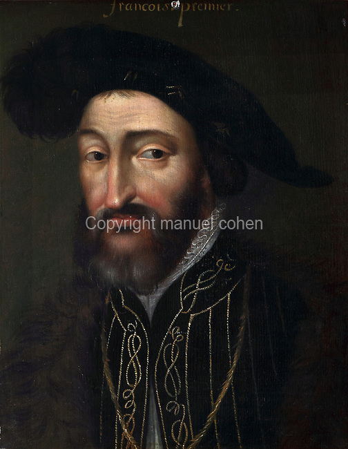 Portrait of Francois I, 1494-1547, oil painting on canvas, 17th century, by French School, in the Galerie de la Reine or Queen's Gallery, decorated in 16th century Renaissance style and restored by Felix Duban in 1861-66, on the first floor of the Francois I wing, built early 16th century in Italian Renaissance style, at the Chateau Royal de Blois, built 13th - 17th century in Blois in the Loire Valley, Loir-et-Cher, Centre, France. The gallery overlooks the gardens and houses an important portrait collection. It was used for walking and entertaining, with music, theatre, games and dance playing an important role. The chateau has 564 rooms and 75 staircases and is listed as a historic monument and UNESCO World Heritage Site. Picture by Manuel Cohen