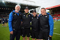 Bath Director of Rugby Todd Blackadder and first team coaches Girvan Dempsey, Darren Edwards and Toby Booth pose for a photo after the match. Gallagher Premiership match, between Leicester Tigers and Bath Rugby on May 18, 2019 at Welford Road in Leicester, England. Photo by: Patrick Khachfe / Onside Images