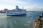 Brittany Ferries ferry ship arriving at Portsmouth, hampshire, England