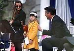 Gov. Brian Sandoval thanks Haylee Reynolds, 13, and Alexia Ciobanu, 7, for their performance of &quot;Home Means Nevada&quot; at the inauguration at the Capitol, in Carson City, Nev., on Monday, Jan. 5, 2015.<br /> Photo by Cathleen Allison