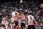 Real Madrid Raphael Varane and Cristiano Ronaldo and Athletic Club Inai Nunez and Oscar De Marcos during La Liga match between Real Madrid and Athletic Club at Santiago Bernabeu Stadium in Madrid. April 19, 2017. (ALTERPHOTOS/Borja B.Hojas)
