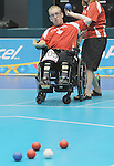 November 14 2011 - Guadalajara, Mexico: Brock Richardson during a Boccia mathch at the 2011 Parapan American Games in Guadalajara, Mexico.  Photos: Matthew Murnaghan/Canadian Paralympic Committee