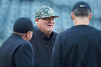 Charlotte 49ers head coach Loren Hibbs prior to the game against the Wake Forest Demon Deacons at BB&T BallPark on March 13, 2018 in Charlotte, North Carolina.  The 49ers defeated the Demon Deacons 13-1.  (Brian Westerholt/Four Seam Images)